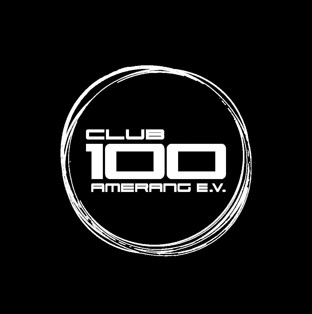 "Logo in weiß mit dem Inhalt ""Club 100 Amerang e.V."""